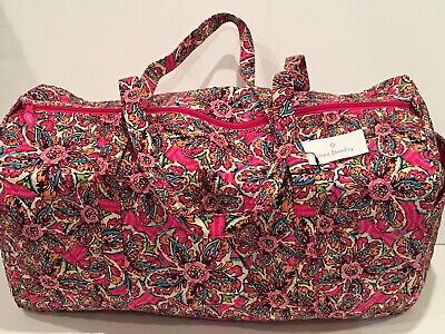 NEW Vera Bradley Large Traveler Duffel Bag Sunburst Floral Pattern Fold Quilted