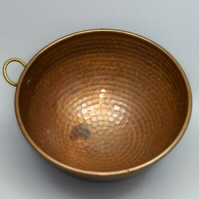 "VTG Textured Thick Solid Copper 9 1/2"" Egg Mixing, Whipping Bowl w/ Brass Ring"