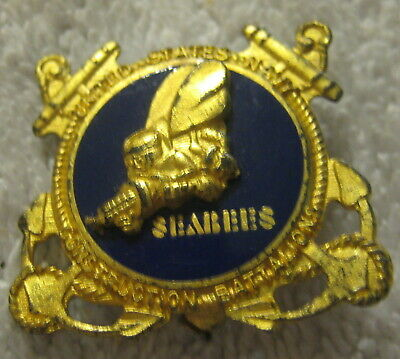 WWII Sterling silver USN Seabees Vintage Construction Battalions Pin Metal WW2