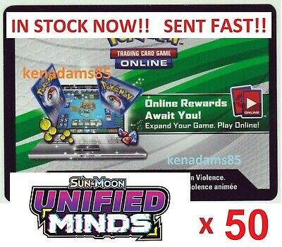 50 x Pokemon SM11 Unified Minds PTCGO Online Booster Codes SENT WITHIN 8 HOURS !