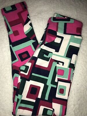 LuLaRoe Kids Leggings S/M Small Medium Blue Green Pink Design