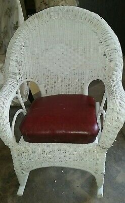Antique White Wicker Rocker,  smooth rockers, red leather seat with springs