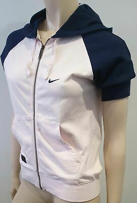 NIKE RANDALLS ISLAND Pale Pink & Navy Short Sleeve Hooded Hoodie Sweater M