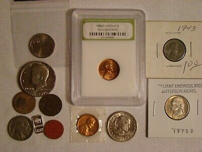 Junk Drawer Coin Lot 1858 Flying Eagle Cent 1889 Indian Head Kennedy *Sba $1 X05