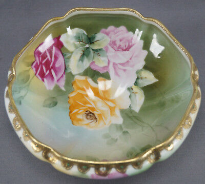 Hand Painted Nippon Pink & Yellow Rose & Gold Moriage Footed Bowl C. 1891 - 1911