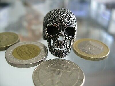 Huge And Heavy Skull Sterling Silver 925 Men Biker Ring. Size 8,9,10,11,12,13...