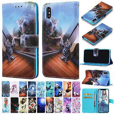 For iPhone 8 Plus 6s 7 XS Max XR Case Magnetic Flip Leather Card Wallet Cover
