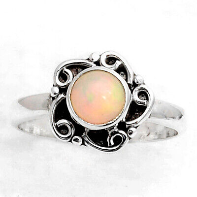 925 Sterling Silver ethiopian opal Jewelry Ring Size 7 US 1.48 g crystalcraft