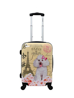 """CHARIOT France Paris Eiffel Tower Poodle Dog LUGGAGE SPINNER 20""""CARRYON SUITCASE"""