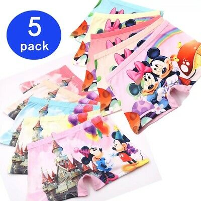 5pcs Kids Girls Underpants Cotton Panties Underwear Disney Mickey Minnie Mouse