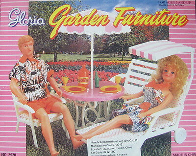 Gloria Garden Furniture Doll House Table Umbrella Chairs Lounge Barbie Size TOYS