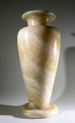 "Large 11.5"" Ancient Egyptian Banded Alabaster Hand Carved Jar, Gorgeous"