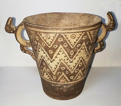 Pre-Columbian Chancay (1000-1470 AD) beaker with lizard handles