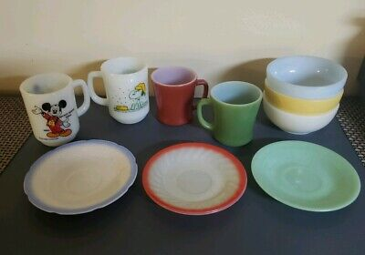 10 Vintage Fire King Anchor Hocking Snoopy, Mugs,bowls, & More