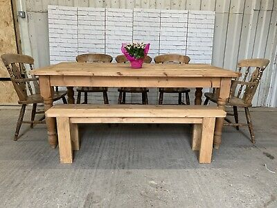 Large 6ft Rustic Solid Pine Farmhouse Dining Table 5 Chairs And Bench Seats 8 10