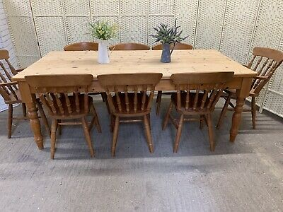 Large 7ft Solid Pine Rustic Farmhouse Dining Table And 8 Country Kitchen Chairs