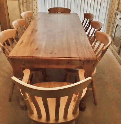 Large 6x3ft Solid Pine Farmhouse Dining Table And 8 Chairs