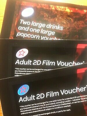 2D Cinema Tickets for Two with Drinks and Popcorn valid until 01/04/2020 cinewor