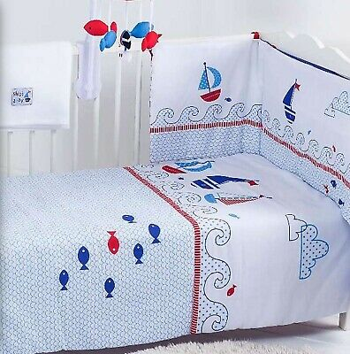 Nursery Baby Boy Bumper Quilt Ftd Sheet Blanket Cot/Cot Bed Ship Ahoy Blue White