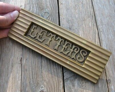Antique Decorative Solid Brass Letter Box Plate / Door Mail Slot WORKING SPRING
