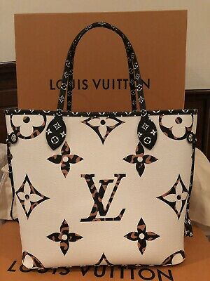 Louis Vuitton Giant Monogram Jungle Neverfull Ivory Limited Edition - New!