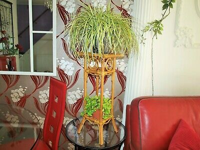 Vintage Oriental Bamboo Plant Stand  2 foot tall Beautiful Ornate Piece