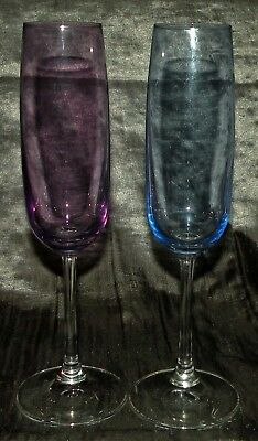 "Set of 2 Signed Waterford Marquis 9"" Crystal Champagne Flutes Pastel Colors"