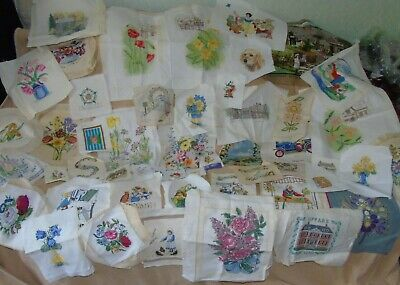 Selection of vintage completed cross stitch and embroidery - for craft projects