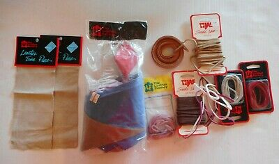 Lot of Leather Suede Lace Lacing & Leather Scraps Trim Red Pink Brown Blue