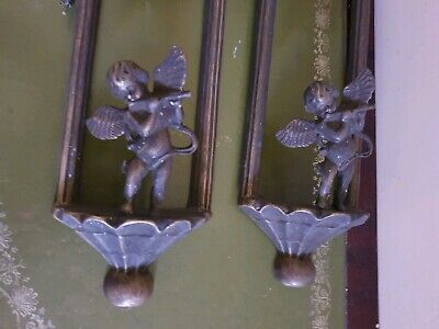 Vintage Pair Of Bronzed Brass Electric Wall Sconce Cherub Patterned