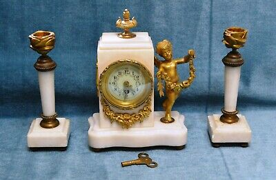 Antique Victorian French Miniature Marble & Gilt Brass Mantle Clock & Garnitures