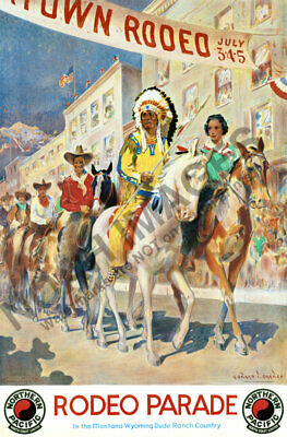 Rodeo Parade vintage Northern Railroad train travel poster 24x36