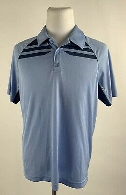 Under Armour Mens Large L Fitted Baby Blue Navy Golf Polo HeatGear Poly/Rayon