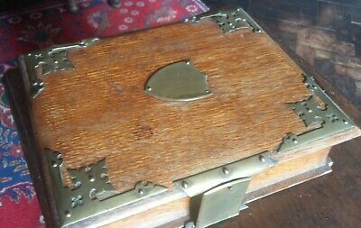 Charming Antique Oak And Brass Bound Book Shaped Box