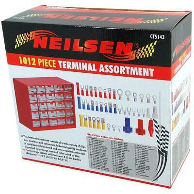 1012pc Clips Terminals Connectors Assortment & Cabinet (Genuine Neilsen CT5143)