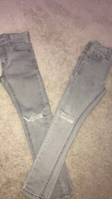 2 X Boys Grey Next Super Skinny Jeans With Rip Knees Great Condition! RRP £30
