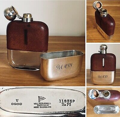 Antique Walker & Hall Sheffield Silver Plated Leather Hip Flask 7/16 Pint Hunter