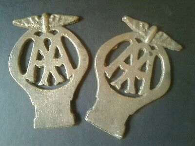 2 antique/vintage cast brass AA membership badges