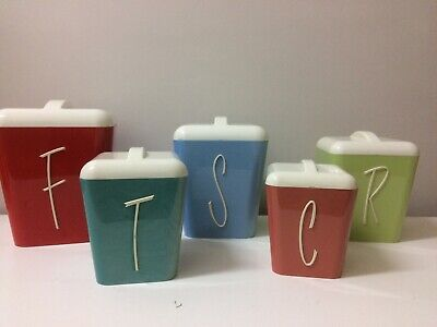Vintage Gay Ware , Gayware Kitchen Canisters Set , Harlequin, 50s  60s Retro