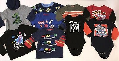 Boy's size 12 Month LOT of 9 Shirts Bodysuits Tops Long Sleeves Fall Winter Baby