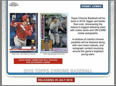 2019 Topps Chrome Baseball Sealed Hobby JUMBO Box FREE SHIPPING