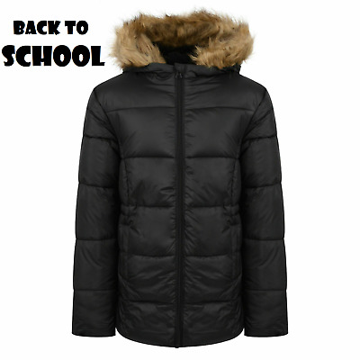 Girls Jacket Hooded School Winter Fleece Warm Coat Faux Fur Kids Size 7-13 Year