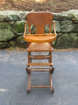 Vintage Oak  Adjustable Convertible Baby High Chair Caned Seat  great condition
