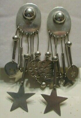Vintage Large Taxco Mexico Sterling Silver Stars Drop Earrings