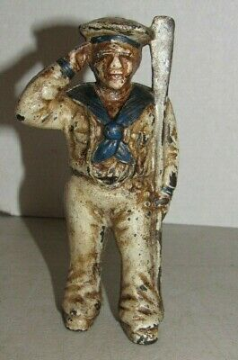 Antique Vintage Cast Iron Saluting Sailor with Oar Still Bank