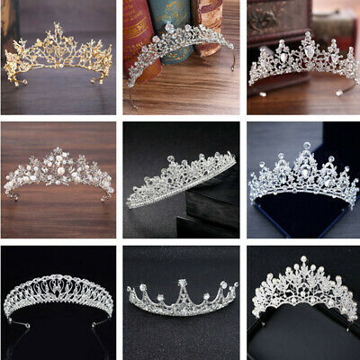 Simply Style Golden Wedding Tiara Bridal Alloy Crown Hair Accessory Vintage AU