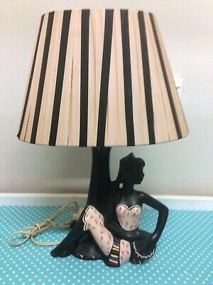 VIntage Barsony Black Lady Lamp 50s 60s , FL 33 , Ribbon Lamp Mid Century Retro,