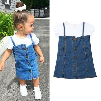 AU Baby Girl Shirt Tops+Strap Skirt 2Pcs Party Casual Denim Dress Clothes Outfit