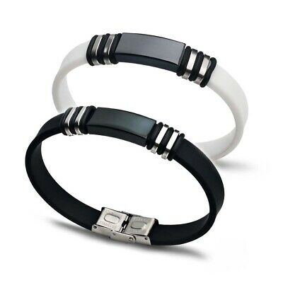 Charm Men Boy Wristband Bracelet Stainless Steel Silicon Rubber Cuff Punk Bangle
