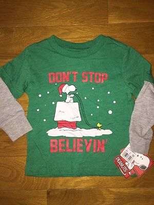 NWT Boys Peanuts Snoopy T Shirt 12 Month Green Long Sleeve Don't Stop Believin'